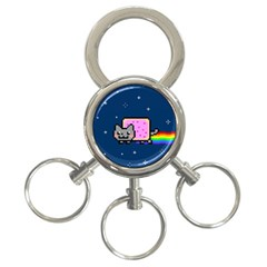 Nyan Cat 3 Ring Key Chains by Onesevenart