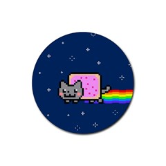 Nyan Cat Rubber Round Coaster (4 Pack)  by Onesevenart
