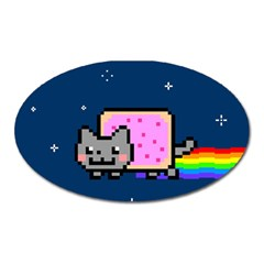 Nyan Cat Oval Magnet by Onesevenart