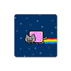 Nyan Cat Square Magnet by Onesevenart