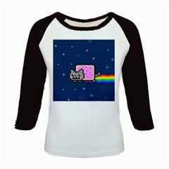 Nyan Cat Kids Baseball Jerseys by Onesevenart