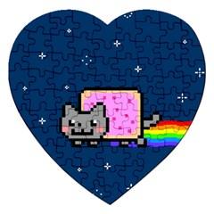 Nyan Cat Jigsaw Puzzle (heart) by Onesevenart