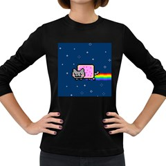 Nyan Cat Women s Long Sleeve Dark T Shirts by Onesevenart