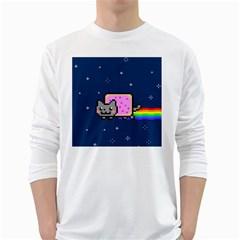 Nyan Cat White Long Sleeve T Shirts by Onesevenart
