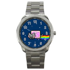 Nyan Cat Sport Metal Watch by Onesevenart