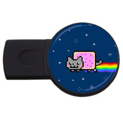 Nyan Cat Usb Flash Drive Round (4 Gb)  by Onesevenart