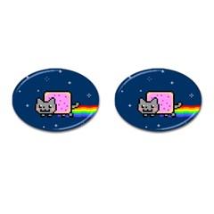 Nyan Cat Cufflinks (oval) by Onesevenart