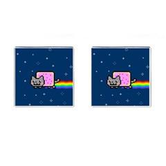 Nyan Cat Cufflinks (square) by Onesevenart