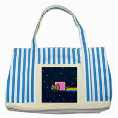 Nyan Cat Striped Blue Tote Bag by Onesevenart