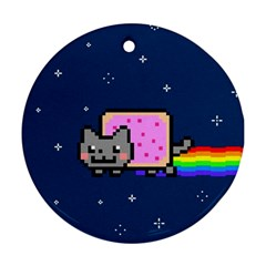 Nyan Cat Round Ornament (two Sides)  by Onesevenart