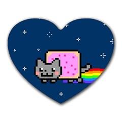 Nyan Cat Heart Mousepads by Onesevenart