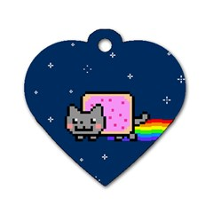 Nyan Cat Dog Tag Heart (two Sides) by Onesevenart