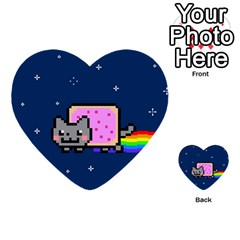 Nyan Cat Multi Purpose Cards (heart)  by Onesevenart