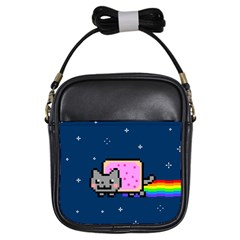 Nyan Cat Girls Sling Bags by Onesevenart