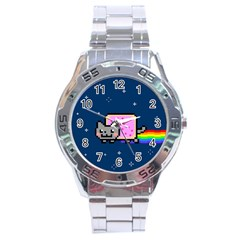 Nyan Cat Stainless Steel Analogue Watch by Onesevenart