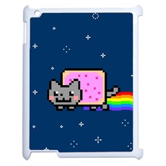 Nyan Cat Apple Ipad 2 Case (white) by Onesevenart