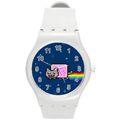 Nyan Cat Round Plastic Sport Watch (m) by Onesevenart
