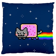 Nyan Cat Large Flano Cushion Case (one Side) by Onesevenart