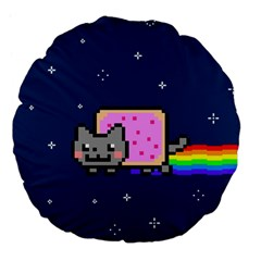 Nyan Cat Large 18  Premium Flano Round Cushions by Onesevenart