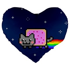 Nyan Cat Large 19  Premium Flano Heart Shape Cushions by Onesevenart
