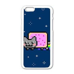 Nyan Cat Apple Iphone 6/6s White Enamel Case by Onesevenart