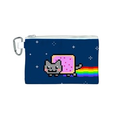 Nyan Cat Canvas Cosmetic Bag (s) by Onesevenart