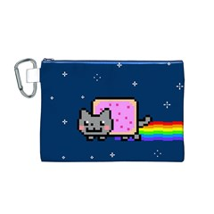 Nyan Cat Canvas Cosmetic Bag (m) by Onesevenart