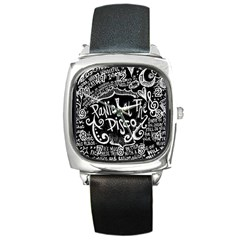Panic ! At The Disco Lyric Quotes Square Metal Watch by Onesevenart