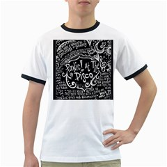 Panic ! At The Disco Lyric Quotes Ringer T Shirts by Onesevenart