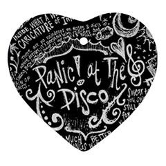 Panic ! At The Disco Lyric Quotes Heart Ornament (2 Sides) by Onesevenart