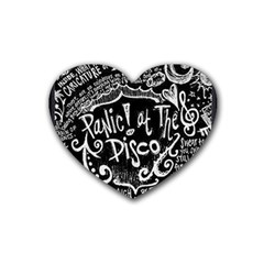 Panic ! At The Disco Lyric Quotes Rubber Coaster (heart)  by Onesevenart