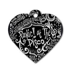 Panic ! At The Disco Lyric Quotes Dog Tag Heart (two Sides) by Onesevenart