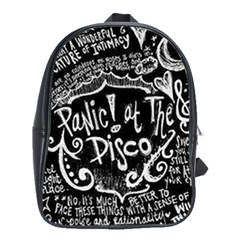 Panic ! At The Disco Lyric Quotes School Bags(large)  by Onesevenart