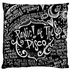 Panic ! At The Disco Lyric Quotes Large Flano Cushion Case (one Side) by Onesevenart