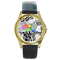 Panic ! At The Disco Round Gold Metal Watch by Onesevenart