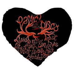 Panic At The Disco   Lying Is The Most Fun A Girl Have Without Taking Her Clothes Large 19  Premium Flano Heart Shape Cushions by Onesevenart
