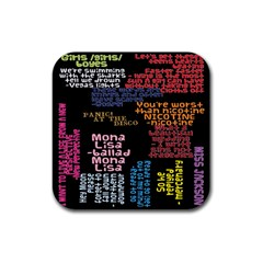 Panic At The Disco Northern Downpour Lyrics Metrolyrics Rubber Square Coaster (4 Pack)  by Onesevenart
