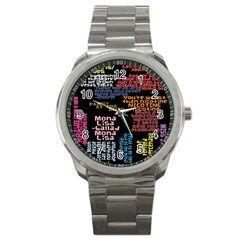 Panic At The Disco Northern Downpour Lyrics Metrolyrics Sport Metal Watch by Onesevenart