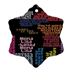 Panic At The Disco Northern Downpour Lyrics Metrolyrics Snowflake Ornament (2 Side) by Onesevenart