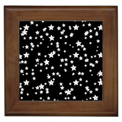 Black And White Starry Pattern Framed Tiles by DanaeStudio