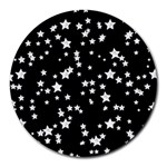 Black And White Starry Pattern Round Mousepads Front