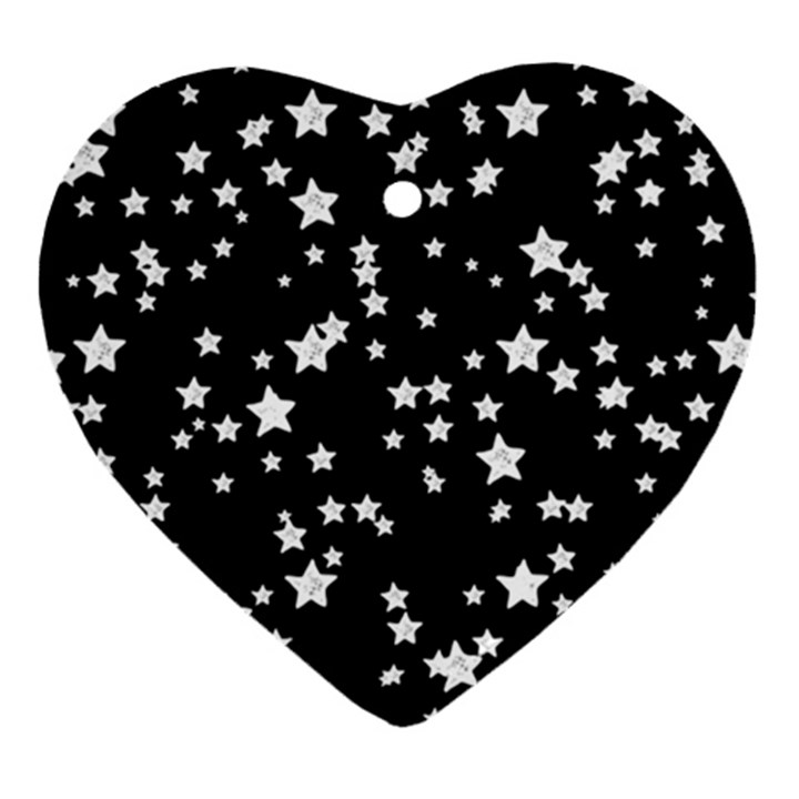 Black And White Starry Pattern Ornament (Heart)