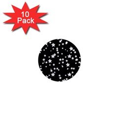 Black And White Starry Pattern 1  Mini Magnet (10 Pack)  by DanaeStudio