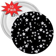 Black And White Starry Pattern 3  Buttons (10 Pack)  by DanaeStudio