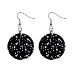 Black And White Starry Pattern Mini Button Earrings