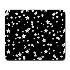 Black And White Starry Pattern Large Mousepads by DanaeStudio