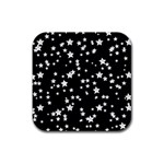 Black And White Starry Pattern Rubber Square Coaster (4 pack)