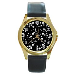 Black And White Starry Pattern Round Gold Metal Watch by DanaeStudio