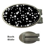 Black And White Starry Pattern Money Clips (Oval)