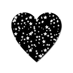 Black And White Starry Pattern Heart Magnet by DanaeStudio